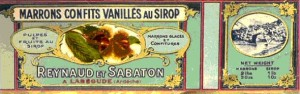 Can label of Sabaton chestnuts in syrup