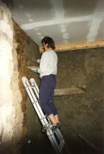 rough mortaring a wall