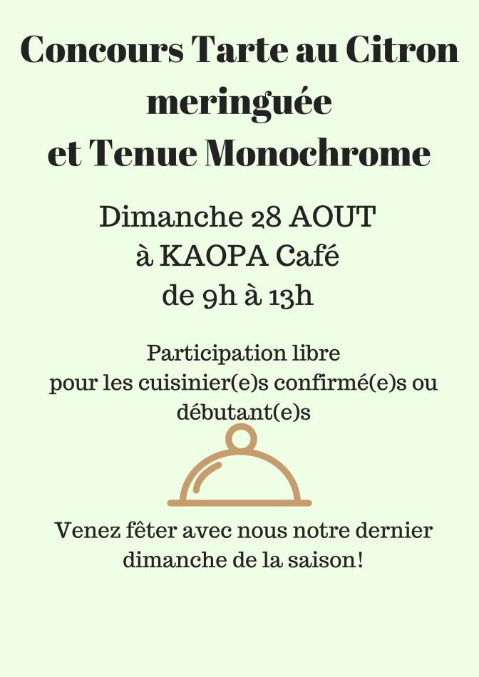 Concours Tarte au Citron meringuéeet Tenue Monochrome