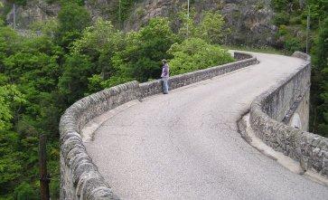 Crossing the Doux on the way to Tournon